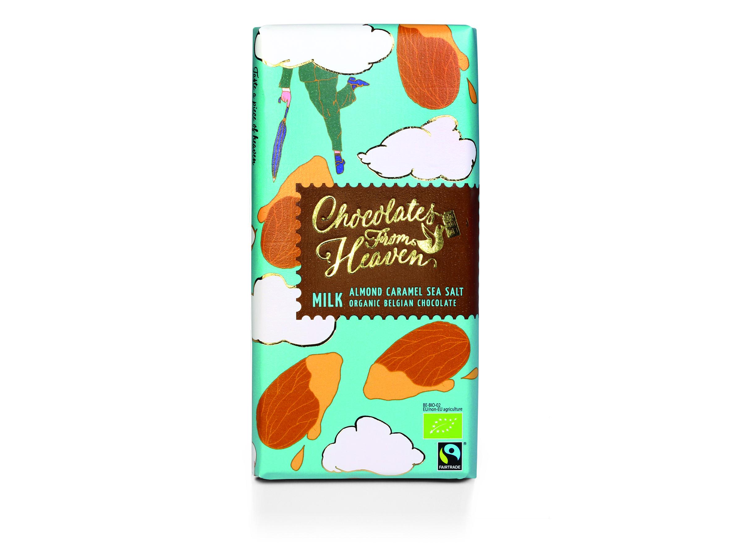 Chocolates from Heaven Luomu karamellisoitu manteli ja merisuola maitosuklaalevy  100g