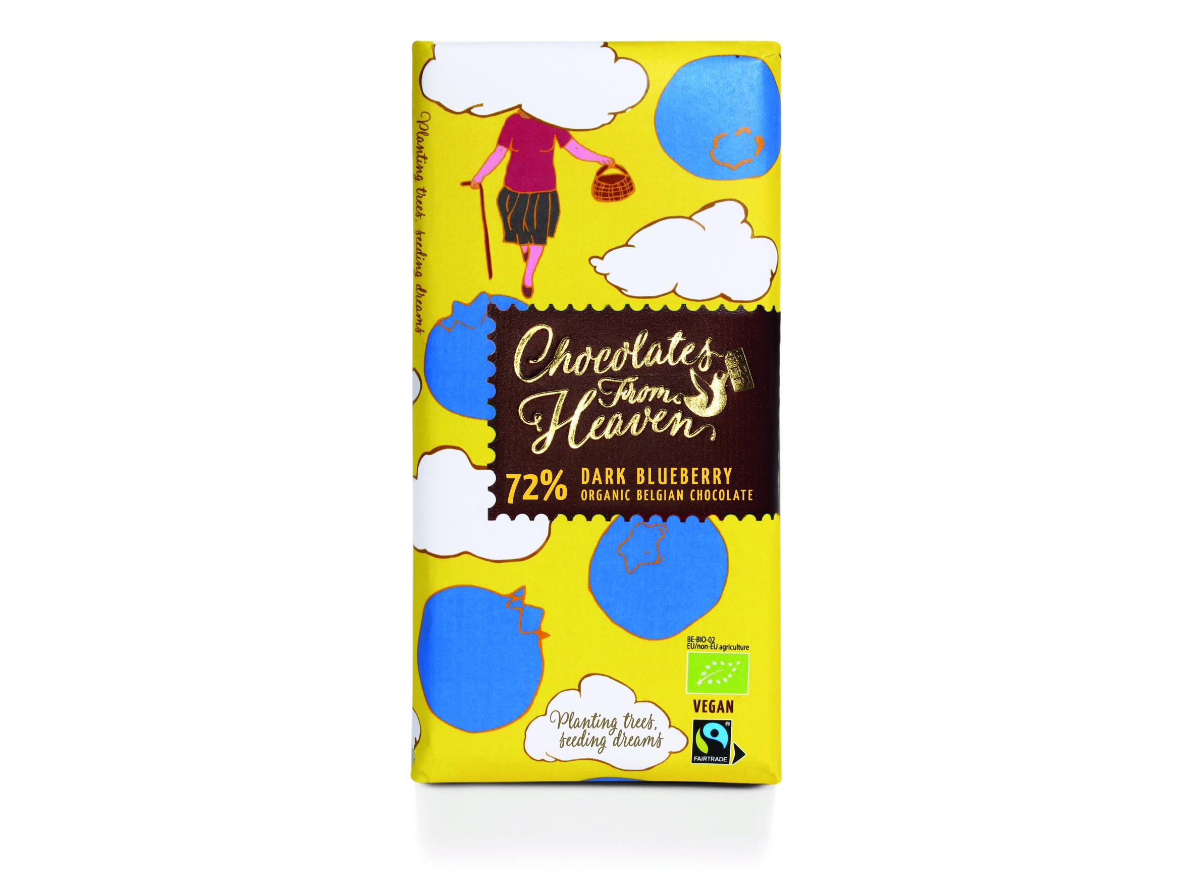 Chocolates from Heaven Luomu mustikkatummasuklaalevy 72% 100g